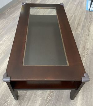 Wooden and Glass Coffee Table with Two Wooden Side Tables for Sale in Houston, TX
