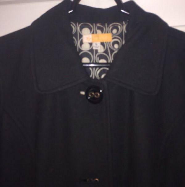 Long black Tulle pea coat