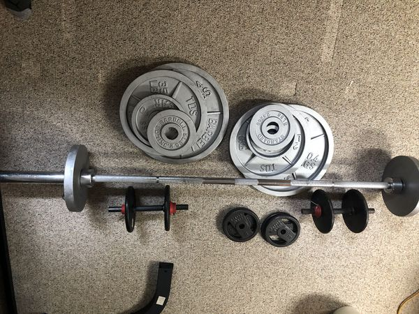weights - bar + 240 pounds in plates + adjustable dumbells