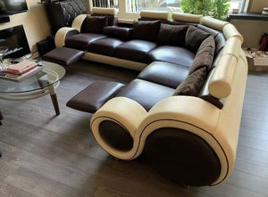 Large Leather Sectional Couch with Recliners for Sale in San Jose, CA