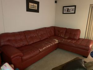 Bobs furniture leather sofa for free. Must pick up by Saturday for Sale in Elizabeth, NJ