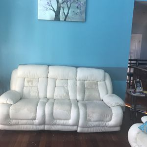 MUST GO! WHITE SOFA MANUAL RECLINE for Sale in Monrovia, MD
