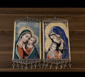 Religious Pair of Icon Banners Tapestry Madonna &Child pure cotton Gold Yarn for Sale in Brooklyn, NY
