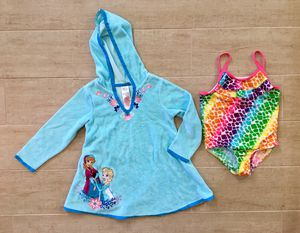 3T bathing suit and Disney Frozen towel dress cover up for Sale in San Juan Capistrano, CA