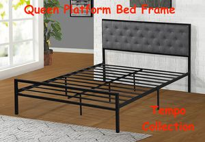 NEW IN THE BOX. QUEEN SIZE METAL PLATFORM BED (FULLY SLATED NO BOX SPRING REQUIRED) WITH LINEN FABRIC HEADBOARD , SKU# TC7577Q for Sale in Garden Grove, CA