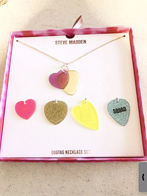 New Steve Madden dog tag necklaces with extra charms for Sale in Los Angeles, CA