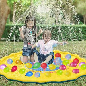 """68"""" Splash Play Mat Sprinkler Pad and 500Pcs Water Balloons Summer Outdoor Water Play Sprinklers for Kids, Inflatable Baby Wading Pool Fun Water Toys for Sale in Pomona, CA"""