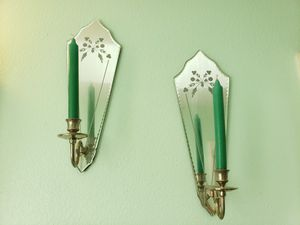 Wall decor mirror candle holders with candels for Sale in Kent, WA