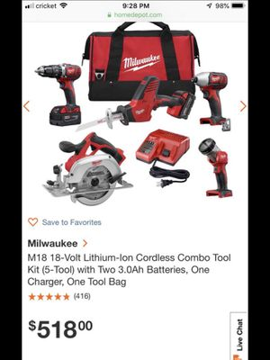 Milwaukee m18 5 piece Combo tool kit for Sale in Kennesaw, GA