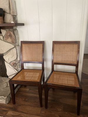 Vintage Danish Modern Pair of Crate and Barrel Mid Century Modern Cane Bamboo Rattan Chairs Dining Chairs Side Chairs for Sale in Los Angeles, CA