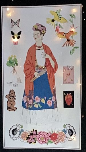 """Unique Hanging Fabric - Frida Kahlo. Approximately 22"""" by 44"""" plus the ribbon drop. Lighting not included. for Sale in Chicago, IL"""