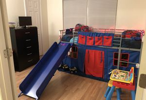 Loft bed with tent and slide, twin mattress included for Sale in Palm Harbor, FL