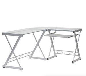 Tempered Glass L Shape Corner Desk With Pull Out Keybaord Panel Color: Clear for Sale in Miami, FL