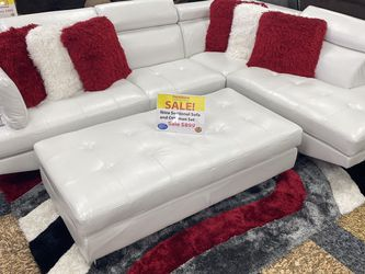 ***SALE*** Ibiza White Or Black Sectional Sofa and Ottoman. Add On Pillows And Rug For A Complete Look. ONLY $50 DOWN and SAME DAY DELIVERY🚚 for Sale in Tampa,  FL