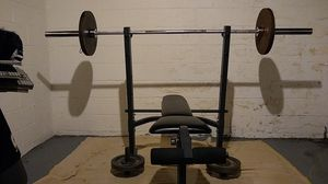 MPEX weight bench! + Olympic Bar and 13 weights + arm extensions for Sale in Columbus, OH