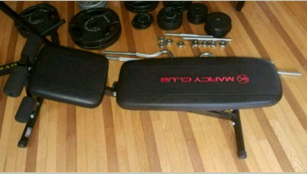 Weights, bench, barbell set