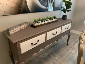 Solid oak wood gray server, buffet, TV stand, entrance or sofa table for Sale in Celebration, FL