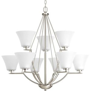 9-light Brushed Nickel Chandelier with Etched Glass Shade - BRAND NEW/SEALED BOX - Progress Lighting for Sale in Plymouth, MI