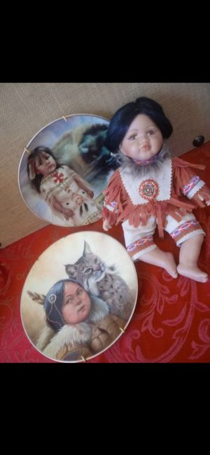 $35 Lot of Native Americans Items - Doll and 2 Collectible Plates for Sale in Hemet, CA