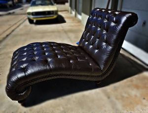 Tufted rollback leather double chairs with nailheads for Sale in San Diego, CA