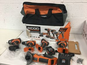 Ridgid 18 Volt Brushless 5 Tool Combo 4 Ah Battery Battery Charger Bag Grinder Impact Wrench Drill Driver for Sale in Mesa, AZ
