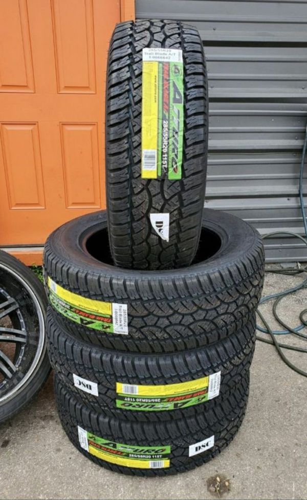 285/55/20 LT new all terrain tires for $600 with balance and installation we also finance Dorian 7637 airline dr houston TX 77037