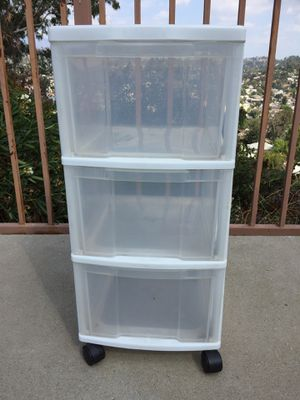 Plastic storage, 3 Drawer Cart with wheels - White for Sale in Los Angeles, CA