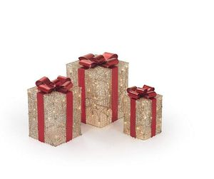 3-Piece Gold Gift Boxes Light-Up Decoration Set Indoor/Outdoor use for Sale in Los Angeles, CA