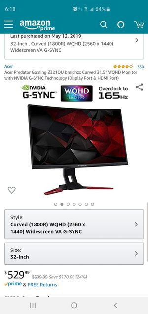"Acer Predator Gaming Z321QU bmiphzx Curved 31.5"" WQHD Monitor with NVIDIA G-SYNC Technology (Display Port & HDMI Port) for Sale in Lowell, MA"