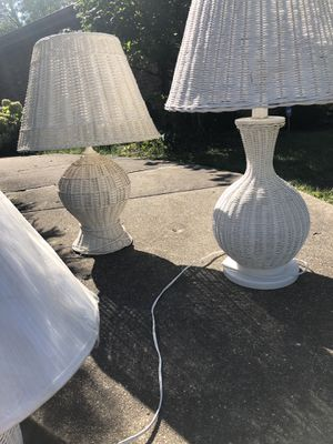 White wicker lamps for Sale in Burr Ridge, IL