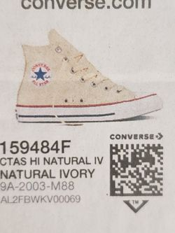 Converse Brand New High Top Chuck Taylors Mens 10 Womens 12 Natural Ivory New In The Box for Sale in North Las Vegas,  NV