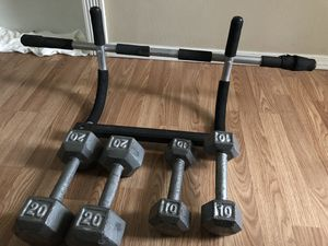 Dumbbell and pull up bar doorway for Sale in Butte, MT