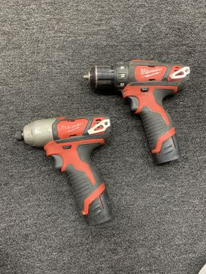 "Milwaukee 12V 1/4"" Impact Driver & 3/8"" Drill Driver for Sale in Seymour, CT"