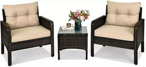 3-Pieces Patio Furniture Set Outdoor Rattan Wicker Coffee Table & Chairs Set for Sale in Los Angeles, CA