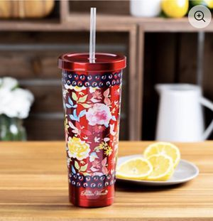 Pioneer Woman 24 ounce Red Floral Tumbler w/ Straw for Sale in Pasadena, TX