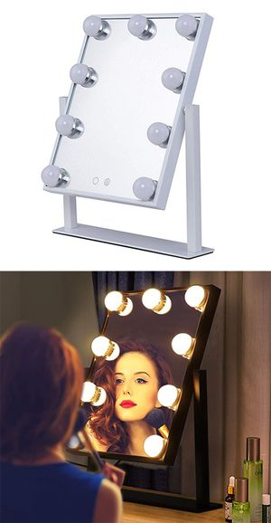 """New in box $50 Small Vanity Mirror w/ 9 Dimmable LED Light Bulbs Beauty Makeup 10x12"""" (Black or White) for Sale in Montebello, CA"""