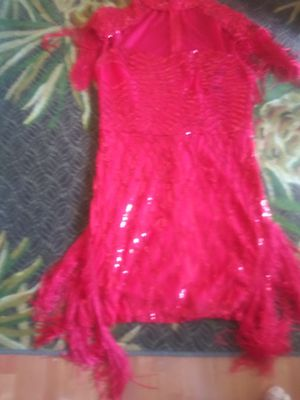 Party dress with fringe on sleeves and bottom and 9 west shoes for Sale in Germantown, MD