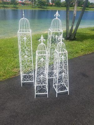 $75.00 - (4) Topiaries! Iron/Metal with Fleur de Lis Iron Finials & Designs - Please read description for Sale in Miami, FL