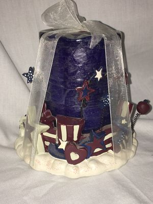 Fourth of July red white & blue flag candle & holder - New for Sale in El Mirage, AZ