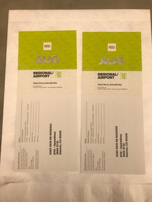 August RTD Regional/Airport Passes (sold separately) for Sale in Littleton, CO