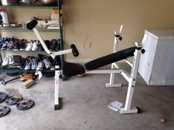 Weight bench, gold gym weight plates, and more