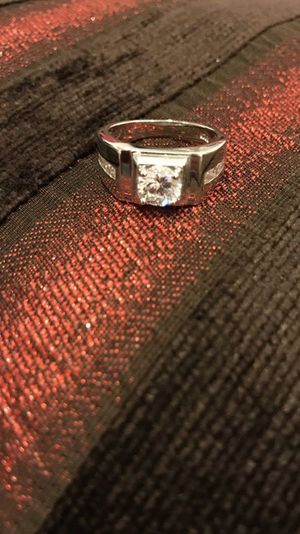 Unisex Stamped 925 Sterling Silver Square Cut Diamond Ring- Code Lq10 for Sale in Boston, MA