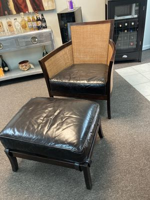 Crate & Barrel Leather Chair and Ottoman for Sale in Huntington Beach, CA