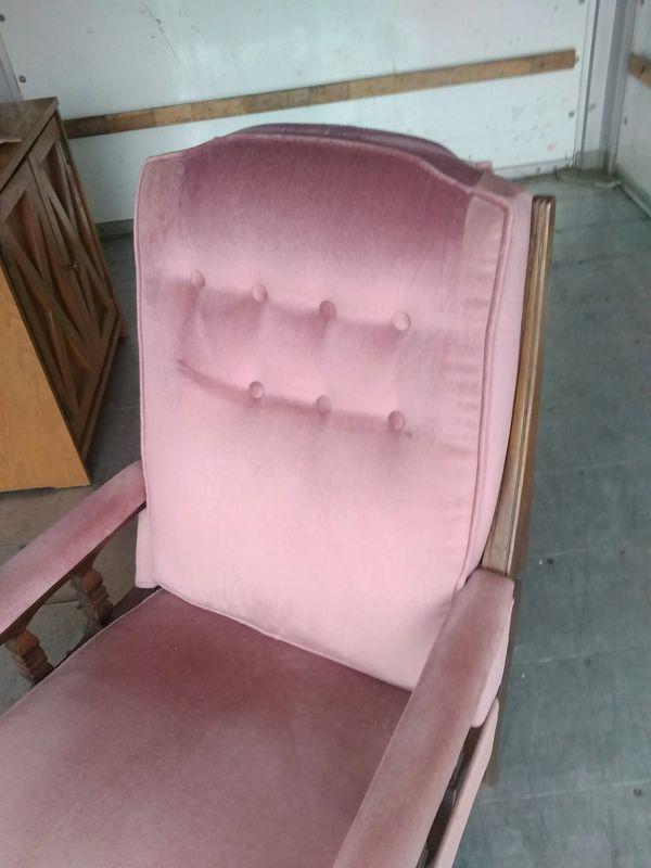 Vintage rare velvet style pink recliner