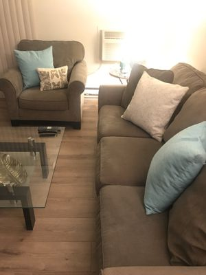 Couch and chair with decorative pillows for Sale in Sunnyvale, CA