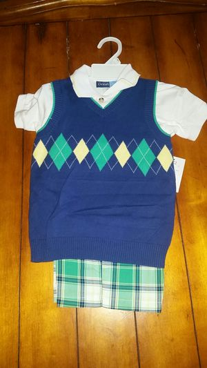 New Size 4T cute summer dress up outfit plaid shorts and argyle print sweater vest with Polo top underneath church wedding for Sale in Gilbert, AZ