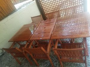 Eucalyptus Wood patio table, 6 chairs for Sale in Knoxville, TN