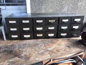Vintage Lyon industrial metal storage Bin 18 drawers Aurora York PA. for Sale in Modesto, CA