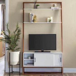 "NEW 42"" Unique Modern Wood Ladder Shelf TV Stand Media Console w/ Storage Cabinet & Shelves - 40"" TV for Sale in Centreville, VA"