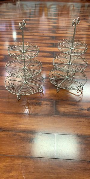 Set of two Silver cupcake stands iron for Sale in Farmington Hills, MI